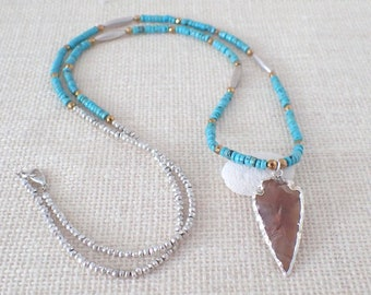 Long Beaded Necklace, Arrowhead Necklace, Tribal Necklace, Turquoise Necklace, BOHO Necklace, Statement Necklace