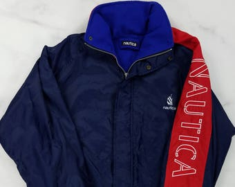 Vintage 90s NAUTICA Spell Out Blue & Red Fleece Lined Nylon Jacket Coat, Mens XL