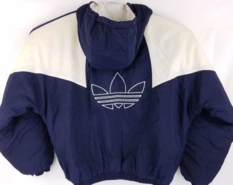 sports shoes 38ac4 62c6b Vintage Adidas Trefoil Spell Out Blue   White Puffer Jacket Winter Coat  Mens Large