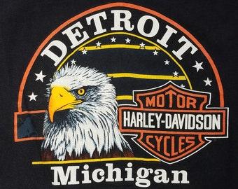 Vintage 90s Harley Davidson Detroit Michigan USA Made Motorcycle T-Shirt, Mens XL