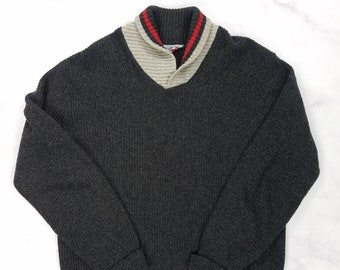 Vintage 50s 60s Gray Wool Blend JC Penneys Towncraft Cowl Neck Sweater, Mens Large