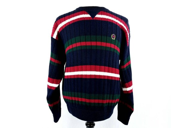 90s Tommy Hilfiger Sweater Navy Blue Oversized Sweater Red  ae9857948
