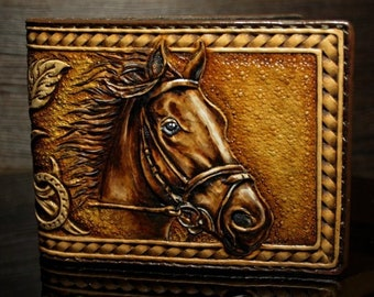 Hand-tooled cowboy wallet, tooled leather wallet, horse wallet, roper wallet, sheridan wallet, horse leather wallet, leather mens wallet
