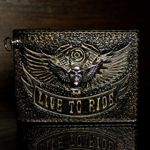 Hand-tooled leather biker wallet live to ride skull and wings wallet mens gift carved wallet leather wallet tooled wallet