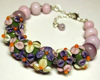 Lampwork bracelet, glass bracelet, flower bracelet, artisan glass, lampwork beads, gift for her