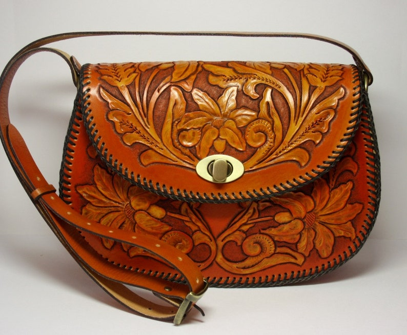 41ffe95f4 Hand-tooled ginger genuine leather handbag with sheridan   Etsy