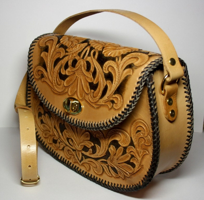 Handmade handtooled leather handbag with