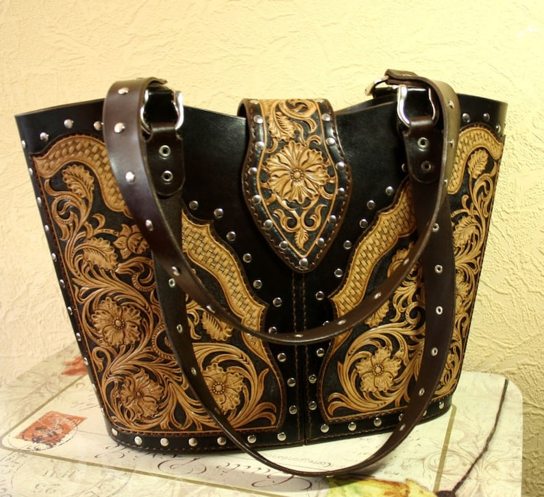 d718cf364 Hand-tooled leather bag leather tote bag sheridan handbag | Etsy
