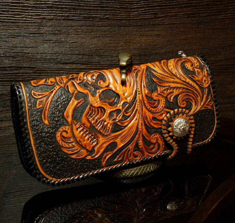 b66cfadae Hand-tooled biker wallet in sheridan style with a skull | Etsy