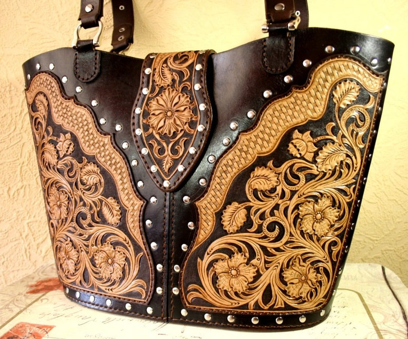 d718cf364 Hand-tooled leather bag leather tote bag sheridan handbag   Etsy