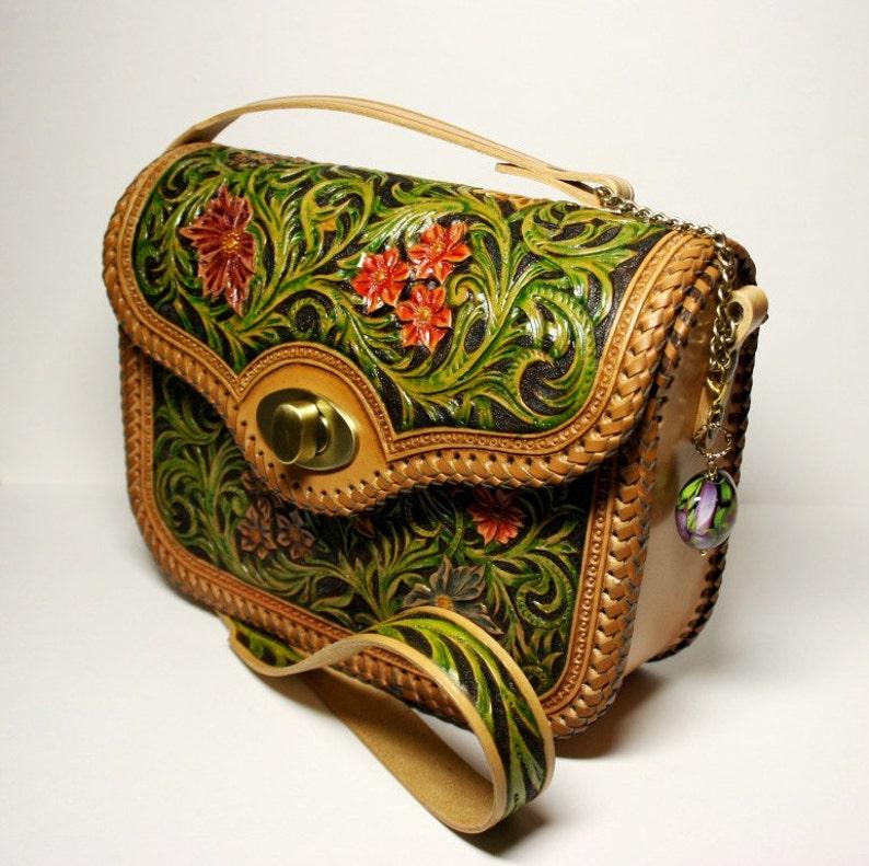 Hand-tooled leather bag handcarved handbag