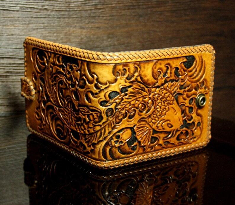 0f3788fdfc79 Hand-tooled leather wallet with Japanese Koi of Luck pattern, tooled  wallet, hand-carved wallet, carved wallet, mens wallet, Koi wallet