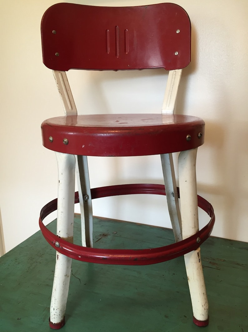 Vintage Red Retro Childs Kitchen Chair Stool