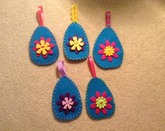 5 Easter egg ornaments