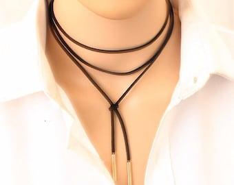 Fashion Choker Necklace, Choker, Necklace, Black Choker, Gold color tube