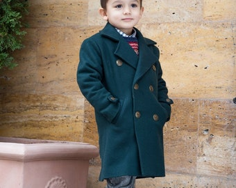 582aa64e Long wool peacoat for boys, Kids warm winter vintage coat, Double breasted  down coat toddler, Long classic coat, Junior long pea coat