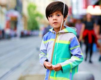 Unisex raincoat waterproof jacket/Toddler water resistant jacket boys/Kids rain jacket/Girls wind resistant jacket/Windproof hooded jacket