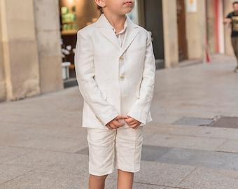 24708c754 Boys linen suit summer formal wear kids linen outfit/ Communion toddler boy  linen suit set/ Kid boy wedding tuxedo outfits linen dress suits