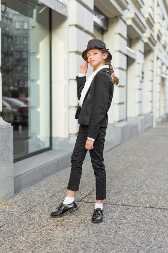 Black tuxedo suit girls/ Tailored toddler suit formal dress | Etsy