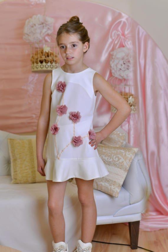 0ad13119e White wedding party flower girl dress/ Kids short dresses for | Etsy