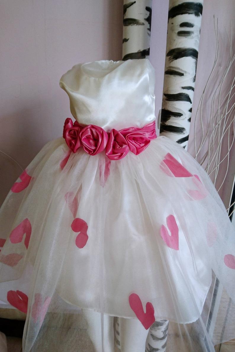 8afefa19e42f7 Sur tulle blanc rose fleur fille robe   robe tutu de tulle