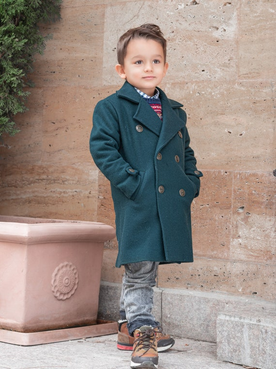 Winter coat, boys wool coat, vintage coat, kids coat, double breasted down coat