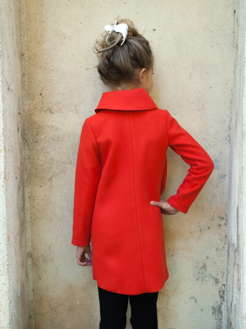 c6619a2adff1 Girls shawl collar wool coat Toddler girl winter coat Red coat