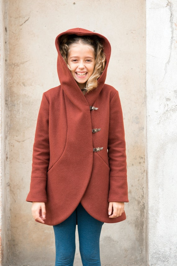 a0f101326319 Girls winter coat  Kids trench coat  Toddler girl hooded wool