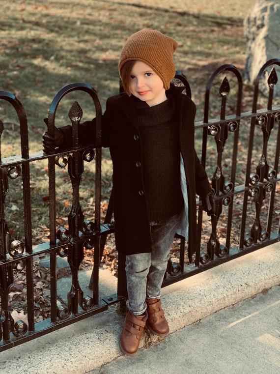 b5973eecf265 Winter coat for boys  Classic wool coat  Grey pea coat  Kids
