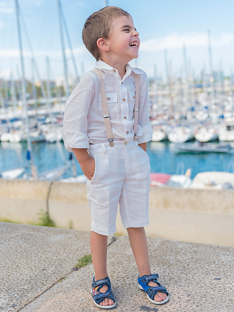 648be4109807 Impostata lino estate ragazzi   bianco manica lunga pantaloni