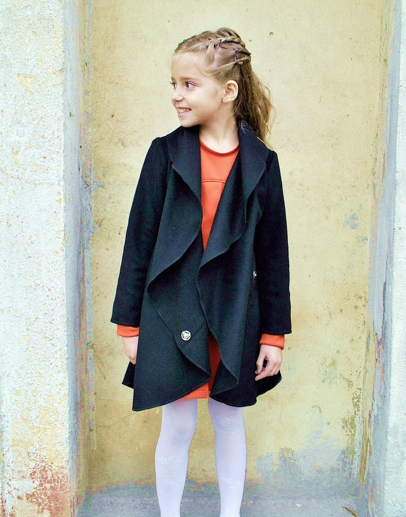 9927e011c5e3 Wool coat girls  Wide collar coat  Big collar coat  Toddlers