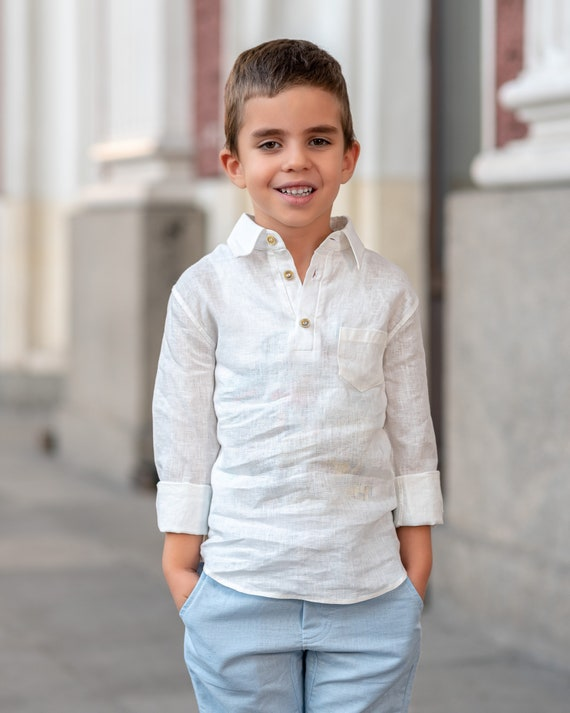 white linen shirt ringbearer shirts baby shirt toddler shirt baby boy shirt stand-up collar christening outfit boy