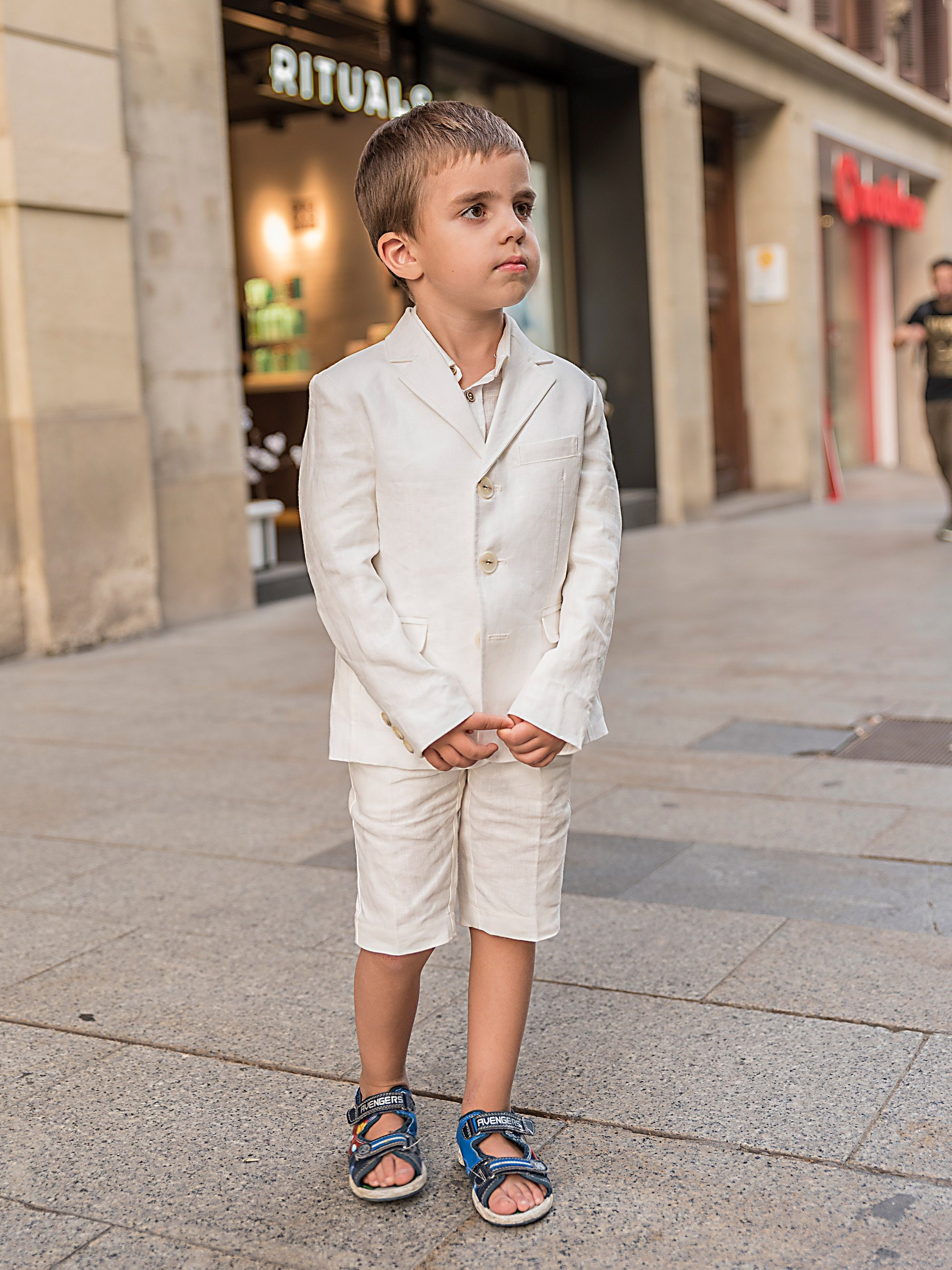 ef2cb94faef68 Boys linen suit summer formal wear kids linen outfit/ Communion toddler boy  linen suit set/ Kid boy wedding tuxedo outfits linen dress suits