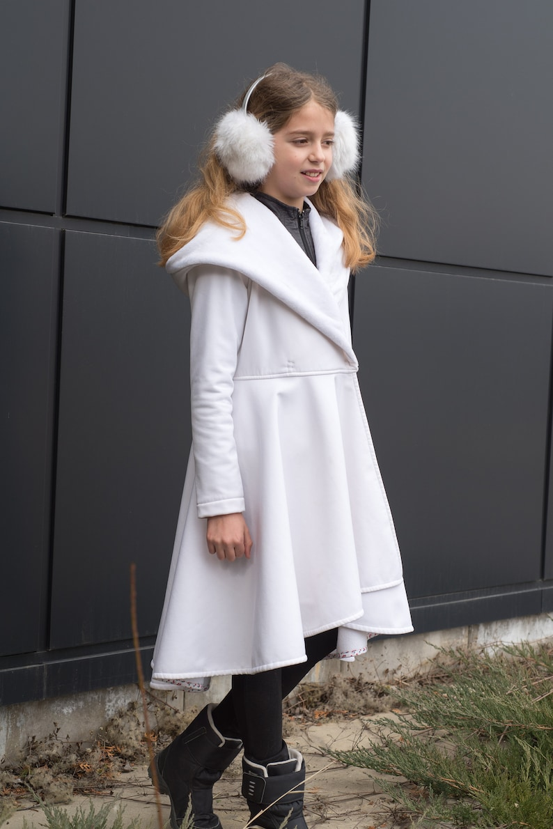 fce254a1123b Hooded white long winter coat Warm coat for girl First