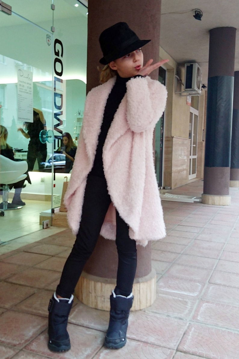 fdb5a0f6e80d Girls shawl collar fuzzy coat Formal toddler coat High collar