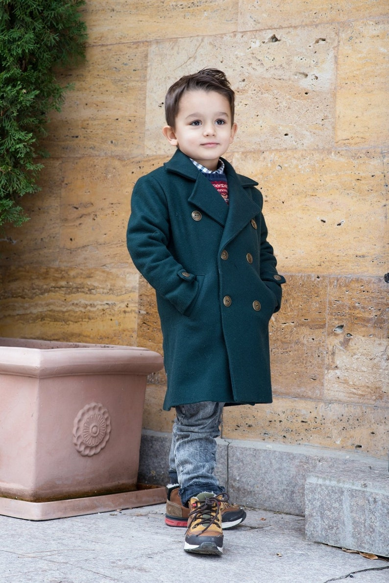 193e9b615e43 Long wool peacoat for boys Kids warm winter vintage coat