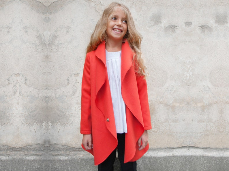 01c62641c4e8 Girls shawl collar coat High neck wool coat High collar girls