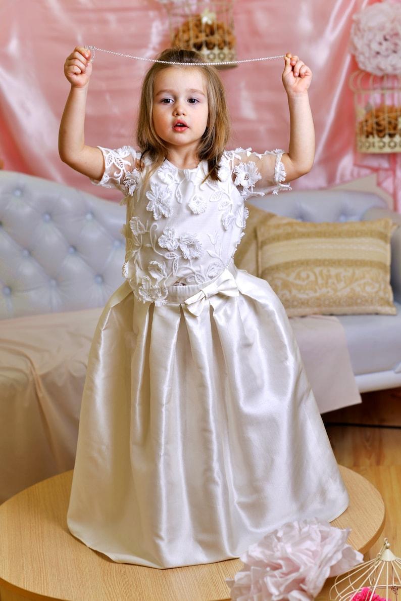Girls bridesmaid dress long/ Wedding dress set/ White flower image 0