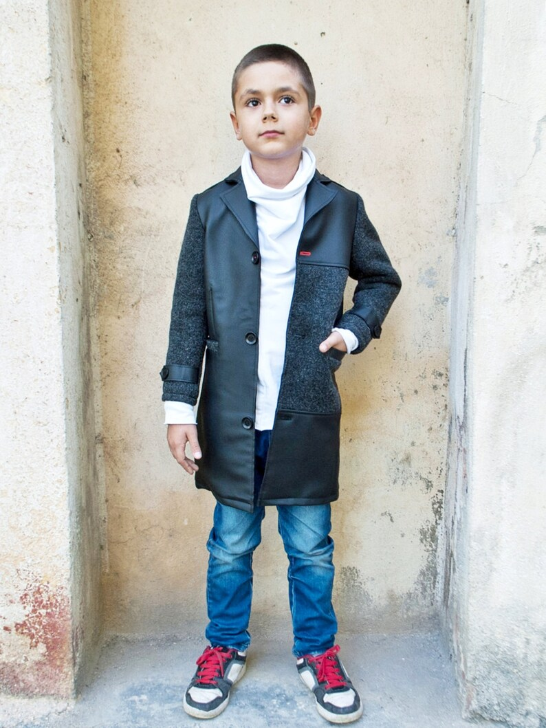 86e5b2cde03c Boys wool coat Long black coat Faux leather coat Kids classic