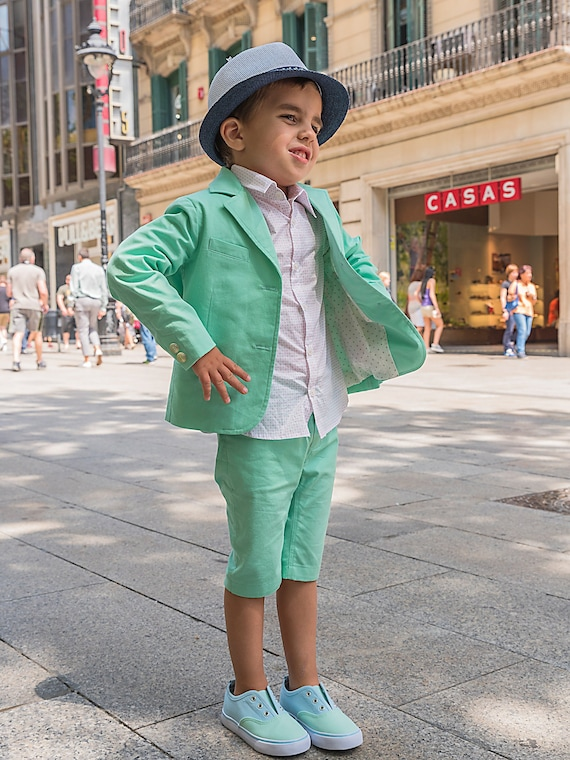f752d0222a3c0 Boys summer outfit kids cotton suit/ Toddler boy summer clothes/ Cute  summer tailored suit/ Stylish beach wedding suit/ Kids summer wear