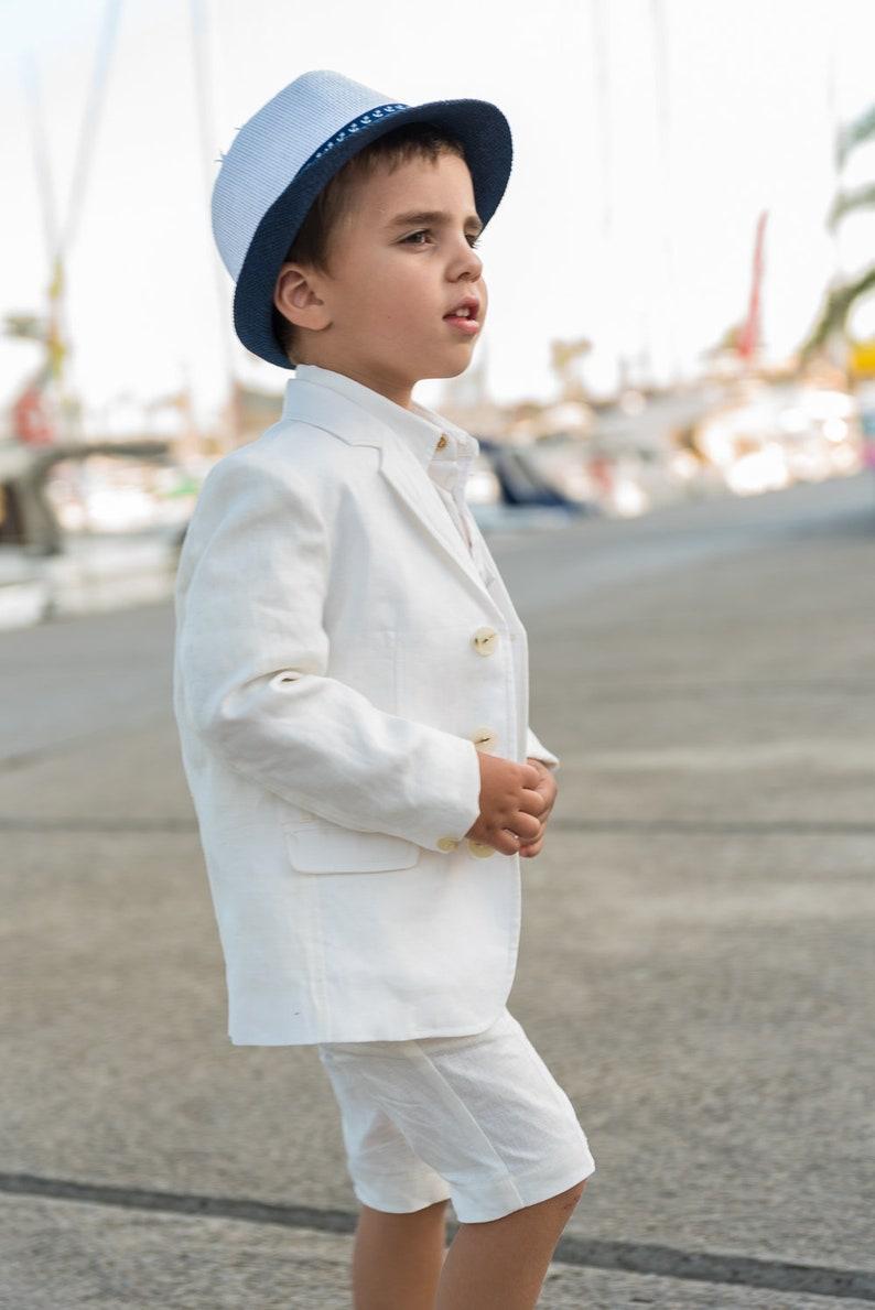 f8722b09c7c63 Boys linen suit summer formal wear kids linen outfit/ Communion toddler boy  linen suit set/ 3 pieces kids boy wedding linen dress suits