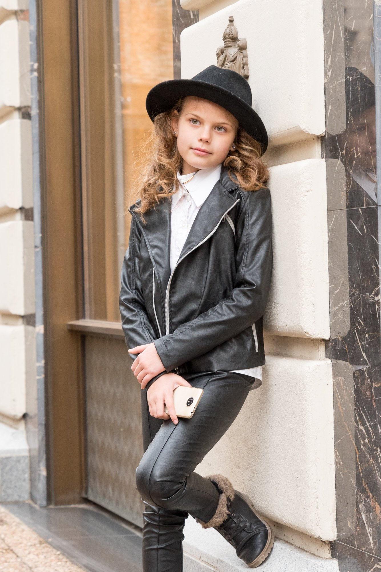 374ab5ca0 Girls black leather jacket Faux leather biker jacket Eco