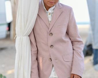 Boys wedding linen blazer/ Summer formal wear kids linen clothes/ Communion toddler boy blazer/ kids stylish linen nude color dress suit