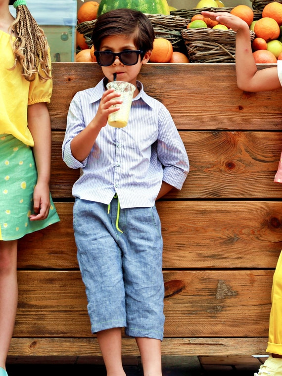 san francisco best authentic speical offer Boys pants/ Three quarter length trousers/ Boys linen drop   Etsy