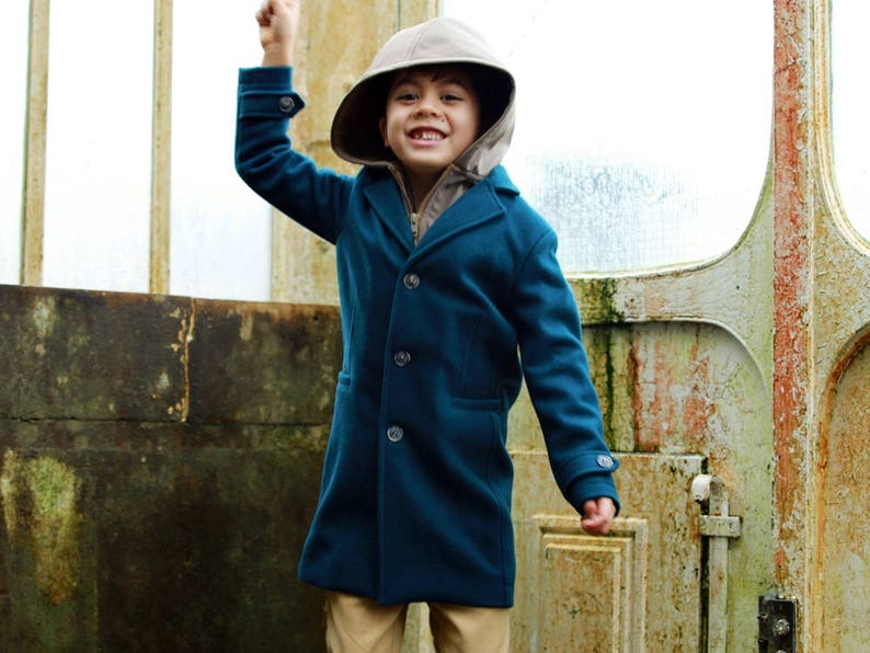 d4a29e8c09cd Classic wool boys coat with removable hood  Winter coat  Boys