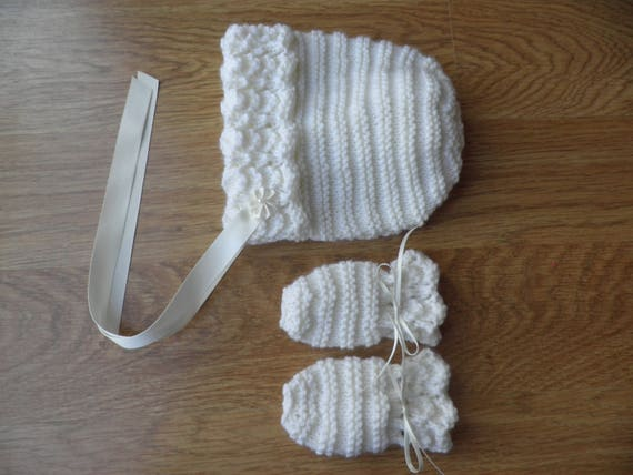 0e7d45778 Cream baby bonnet and mittens girl s hat and gloves 3
