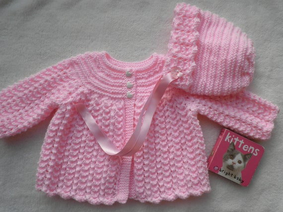 e7713911e Baby girl's pink matinee coat and bonnet pink baby | Etsy