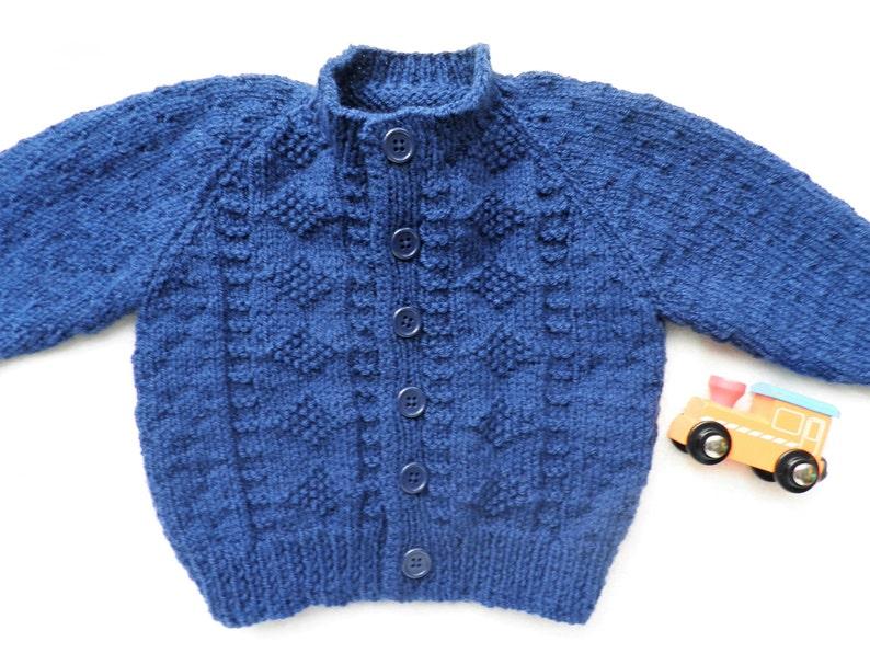 7da437c50ec7 Boy s navy blue cardigan knitted sweater handknitted