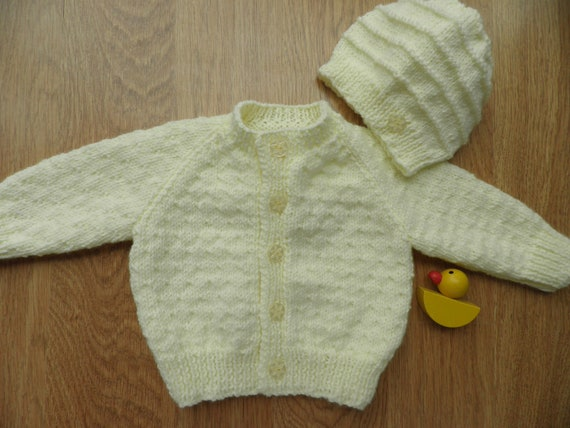 c1c434011 Knitted yellow baby cardigan sweater set Easter gift unisex