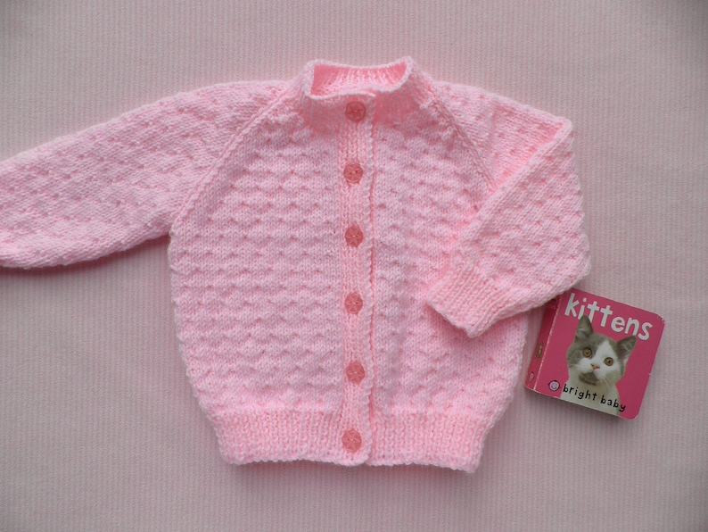 edea15b64 Pink baby cardigan baby girl s jumper handmade sweater